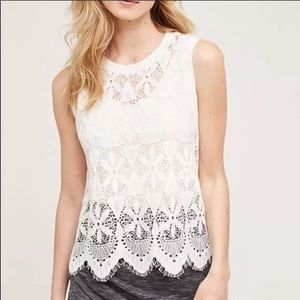 Anthropologie Deletta Lace White Tank Top sz M